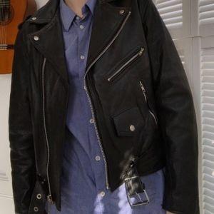 Leather rocker style motorcycle jacket